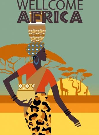africa tourism banner tribal woman land animal icons