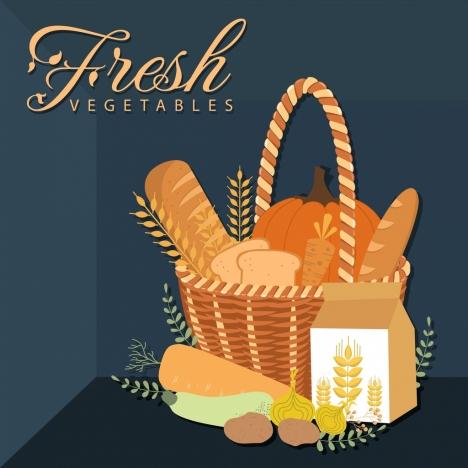 agricultural food background bread vegetable barley basket icons