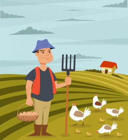 agriculture work drawing farmer poultry icons colored cartoon