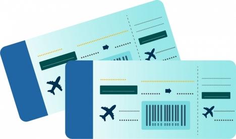 airplane ticket icons horizontal rectangular design silhouette sketch