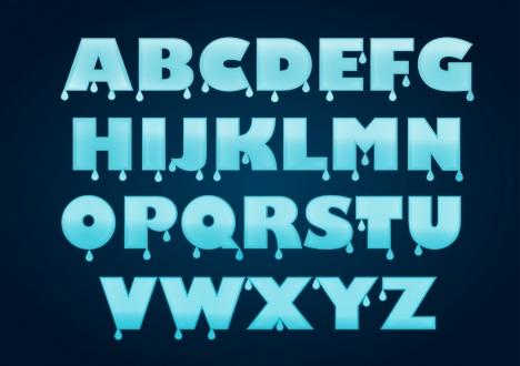 alphabet background blue water drops decoration
