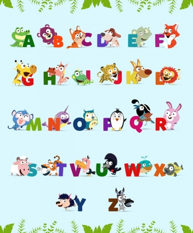 alphabet background cute colorful animals icons decor