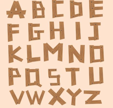 alphabet background wooden texts icons decoration
