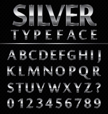 alphabet icons design shiny silver decor
