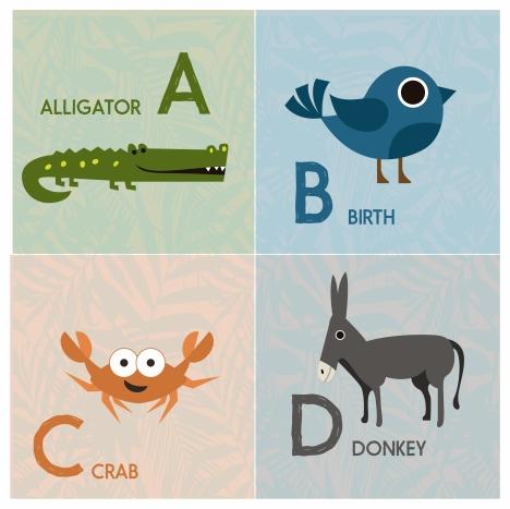 alphabet sets design with color cute animals