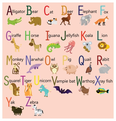 Alphabet sets design with cute cartoon animals vectors stock for alphabet sets design with cute cartoon animals voltagebd Gallery