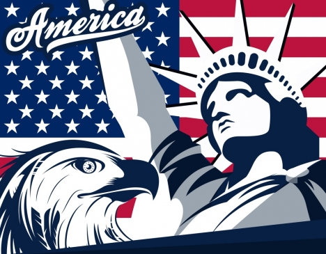 america design elements flag eagle liberty statue icons