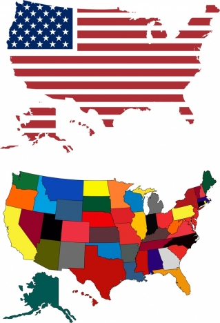 america map background flag color decoration
