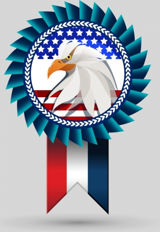 america medal icon multicolored eagle flag decoration