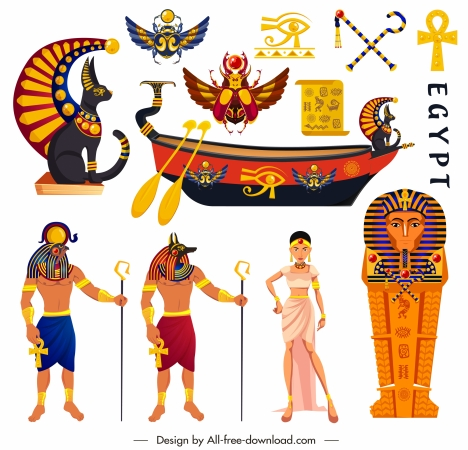 ancient egypt design elements colorful emblems characters sketch