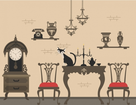 ancient furniture display drawing dark grey decor