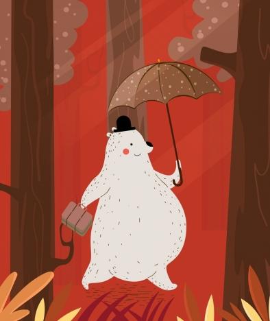 animal background stylized bear icons cartoon design