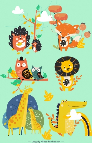 animals icons collection cute colored cartoon design