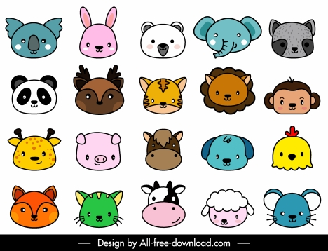 animals icons faces sketch cute cartoon design