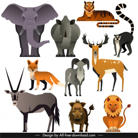 animals species icons colored classic flat sketch