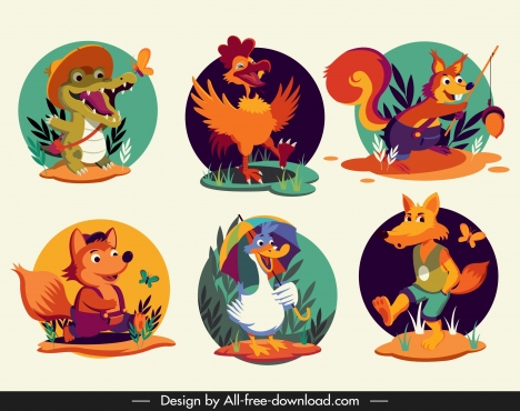 animals species icons stylized cartoon characters sketch