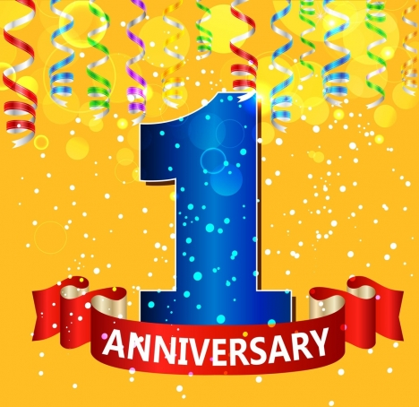 anniversary party banner 3d colorful ribbon numbering icon
