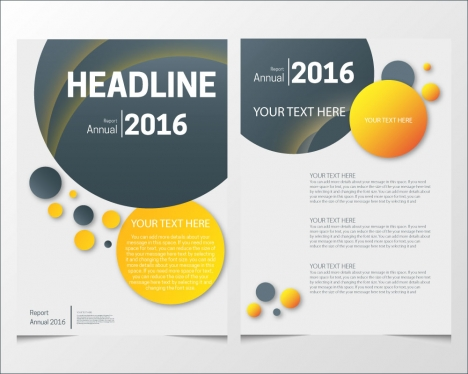 annual report brochure design with various colorful rounds