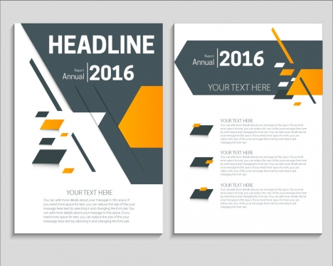 Annual Report Brochure On Abstract Modern Style Background Vectors