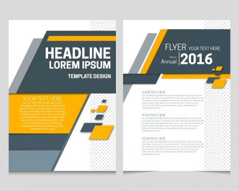 Annual report flyer template with bright geometric design vectors
