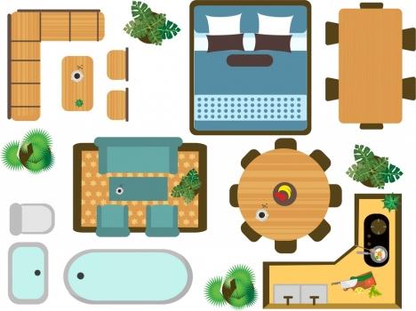 apartment furniture scheme colored flat design