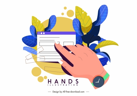 application hand icon colorful design leaves decor