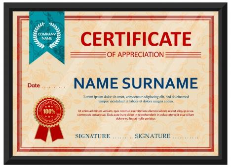Appreciation Certificate Design With Classical Style Vectors Stock  Certificate Design Format