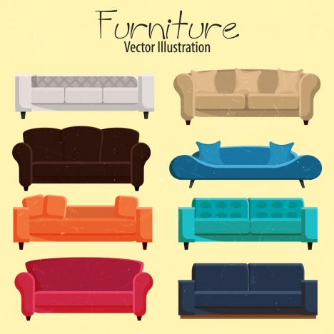 armchair furniture icons collection multicolored 3d design
