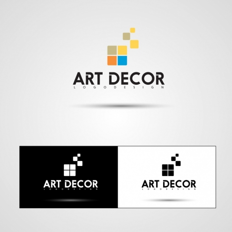 art decor logotypes squares icons decoration