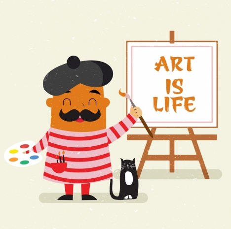 artwork banner painter icon cartoon design
