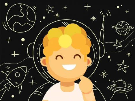 Astrology Background Cute Boy Icon Space Element Sketch Vectors Stock In Format For Free Download 2 65mb