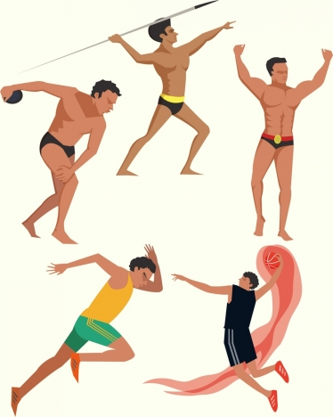 athlete icons collection colored cartoon design various gestures