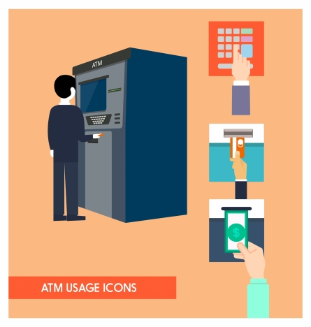atm usage icons illustration with money withdrawal steps