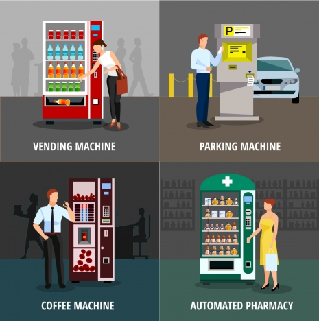automatic machines concepts illustration with various types