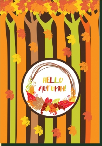 autumn background colorful trees falling leaves decoration