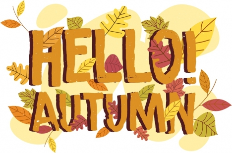 autumn background leaves texts ornament