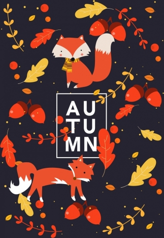 autumn background red fox leaves icons decor