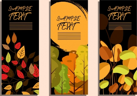 autumn background sets vertical design leaves trees icons