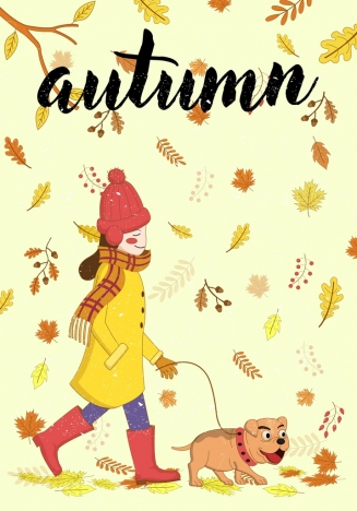 autumn background woman pet icons falling leaves backdrop