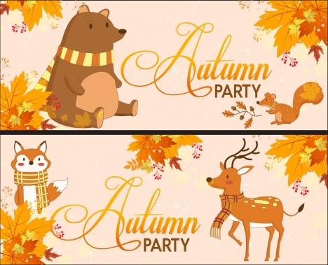 autumn banner sets bear reindeer fox brown leaves