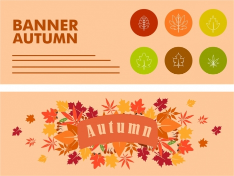 autumn banners design various leaves decoration style