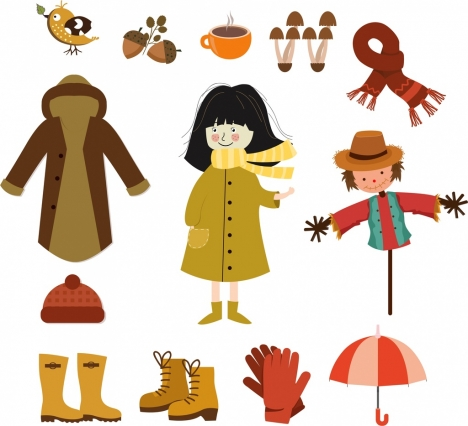 autumn design elements warm cloths accessories natural symbols