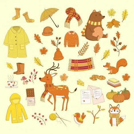 autumn design elements yellow brown design colored cartoon