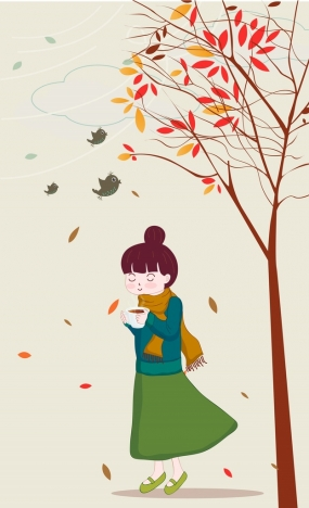 Autumn Painting Woman Falling Leaves Birds Cartoon Design Vectors Stock In Format For Free Download 1 57mb