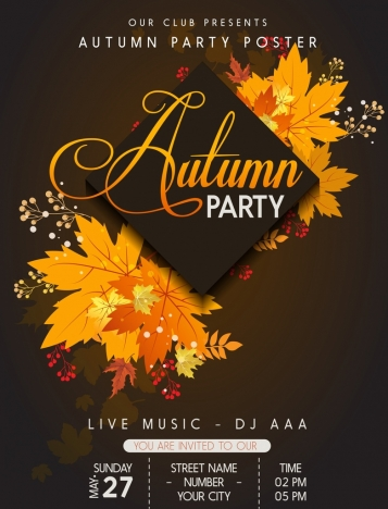 autumn party poster yellow leaves decoration dark design