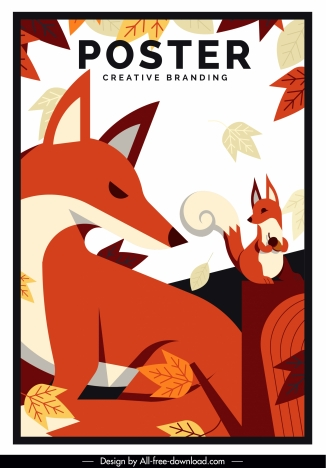 autumn poster foxes leaves sketch classic design