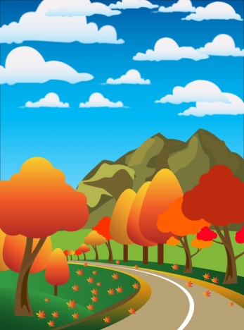 autumn scenery drawing illustration with cartoon style