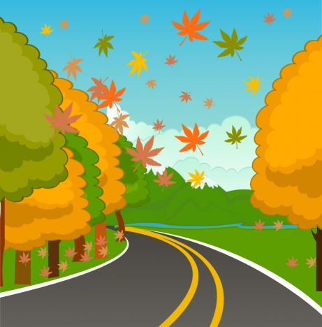 autumn scenery illustration with falling leaves on street