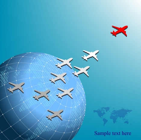 aviation advertising airplanes globe icons blue design