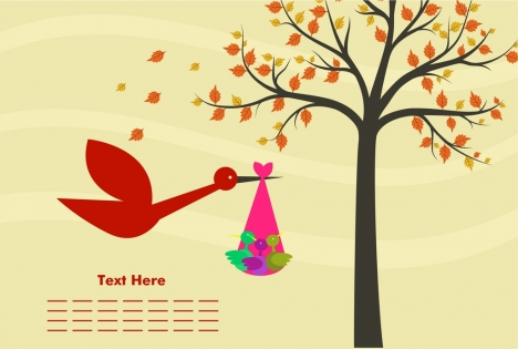 baby birth card cartoon design tree birds ornament